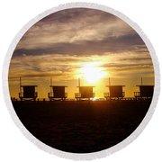Sunset At Venice Beach Round Beach Towel
