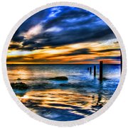 Sunset At Washed Out Pier Round Beach Towel