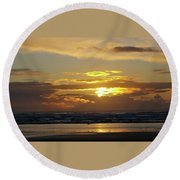 Sunset At Westport  Round Beach Towel