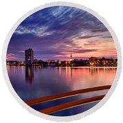 Sunset Balcony Of The West Palm Beach Skyline Round Beach Towel by Debra and Dave Vanderlaan