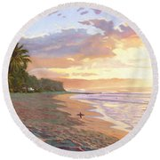 Sunset Beach - Oahu Round Beach Towel