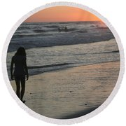 Sunset Beach Silhouette Round Beach Towel