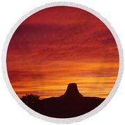 Sunset Behind Devil's Tower Round Beach Towel