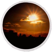 Sunset Behind Ft. Lauderdale By Diana Sainz Round Beach Towel