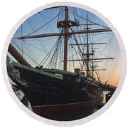Sunset Behind Hms Warrior Round Beach Towel