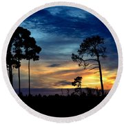 Sunset Behind The Trees Round Beach Towel