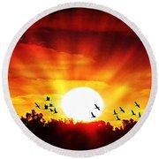 Sunset Birds Round Beach Towel