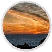 Sunset Blues Round Beach Towel