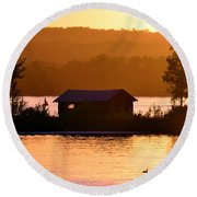 Sunset Boat House Round Beach Towel