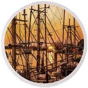 Sunset Boat Masts At Dock Morro Bay Marina Fine Art Photography Print Sale Round Beach Towel