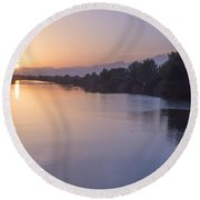 Sunset By Canal Round Beach Towel