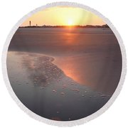 Sunset By Jan Marvin Round Beach Towel