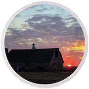 Sunset By The Barn 2 Round Beach Towel