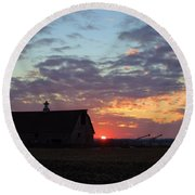 Sunset By The Barn Round Beach Towel