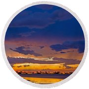 Sunset By The Bay Round Beach Towel