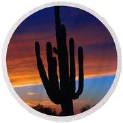 Sunset Cactus Round Beach Towel