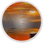 Sunset Charm, 30 Landscape Wall Art Painting Pack  Sunset-sunrise, Evening, Sea, Water, Ocean Etc  Round Beach Towel