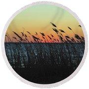 Sunset Colors Island Beach State Park Nj Round Beach Towel