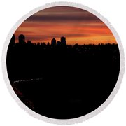 Sunset Commuters Round Beach Towel