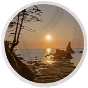 Sunset De Agave Round Beach Towel