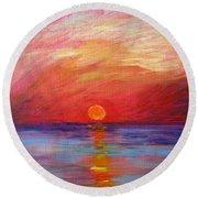 Sunset Delaware Bay Round Beach Towel