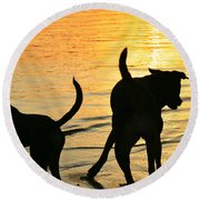 Sunset Dogs  Round Beach Towel by Laura Fasulo