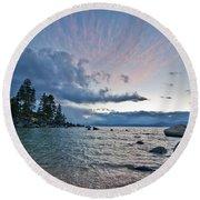 Sunset Drama At Tahoe Round Beach Towel