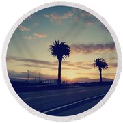 Sunset Drive Round Beach Towel by Laurie Search