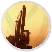 Sunset Excavator Round Beach Towel