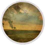 Sunset Farmland Round Beach Towel