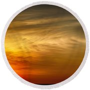 Sunset Feather Clouds Round Beach Towel