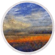 Sunset Field Round Beach Towel