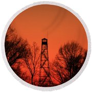Sunset Fire Tower In Oconee County Round Beach Towel