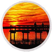 Sunset Fishing At The Pier Round Beach Towel