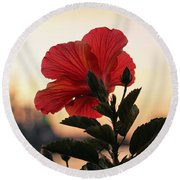 Sunset Flower Round Beach Towel