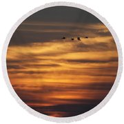 Sunset Flyby Fulton Texas Round Beach Towel