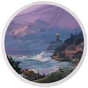 Sunset Fog Round Beach Towel