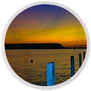 Sunset From Andersons Dock Round Beach Towel