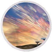 Sunset From Another Planet  Round Beach Towel