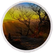 Sunset From Blood Mountain Round Beach Towel