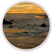 Sunset From Damon Point Round Beach Towel
