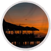 Sunset From Pelican Pier Round Beach Towel