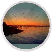 Sunset From Quincy Ma Round Beach Towel