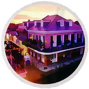 Sunset From The Balcony In The French Quarter Of New Orleans Round Beach Towel
