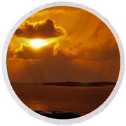 Sunset From The Dolphin Watch Cottage Round Beach Towel