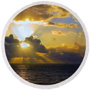 Sunset From The Mumbles Round Beach Towel