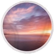 Sunset From The South Jetty Round Beach Towel