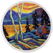 Sunset Geo Landscape Original Oil Painting By Prankearts Round Beach Towel