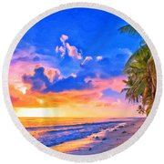 Sunset Glow On The Kona Coast Round Beach Towel