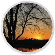 Sunset Glow Toms River New Jersey Round Beach Towel
